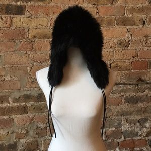 Juicy Couture fuzzy black hat with ear flaps, EUC